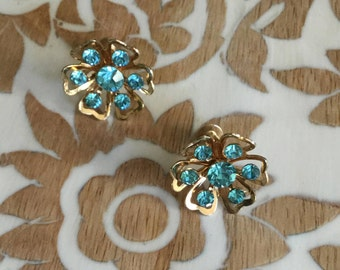 Vintage Coro Blue Foral Clip Earrings