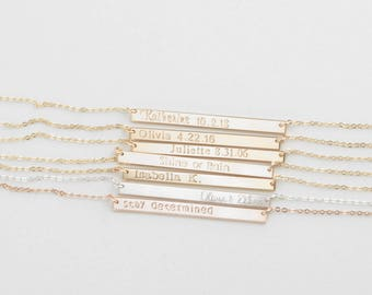ZOE Bar Necklace • 40x3mm Bar Necklace • Skinny Bar Necklace, Delicate Bar Necklace, Dainty Necklace, Nameplate Necklace, Personalize Bar