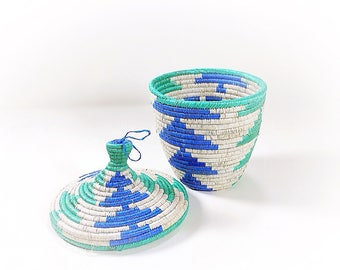 Vintage Small Coiled Lidded Basket, Blue White Green Coiled Basket, Small Basket with Lid, Handmade Coiled Basket, Small Storage Solution