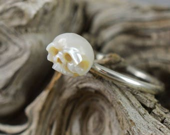 Hand Carved Pearl Skull Facing Upwards on Sterling Silver Band - Christmas Gift - Skull Ring - Pearl Ring - Sterling Silver Ring - Unique