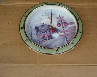 train locomotive clock vintage,railroad clock,Panclox hourly sound train quartz clock 1994