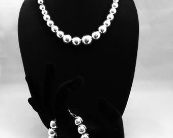 3 Pieces Silver Necklace, bracelet and earring Set