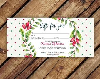 Rodan and Fields Christmas Gift Certificate * Rodan + Fields Gift Certificate * R+F Biz Cards * Rodan and Fields Marketing Cards