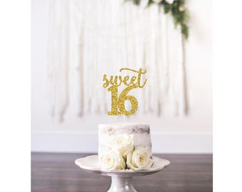 Sweet 16 Cake Topper, Happy Sweet 16, Birthday Cake Topper, Sweet Sixteen, 16th Birthday Party, Sweet 16 Party Decorations, Sweet 16 Gold