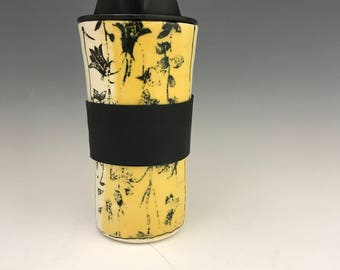 Valentines Handmade Travel Mug - Vivid Travel Yellow Mug With Flowers -  Travel Coffee Cup - Porcelain Travel Mug Pottery Mug - Commuter Cup