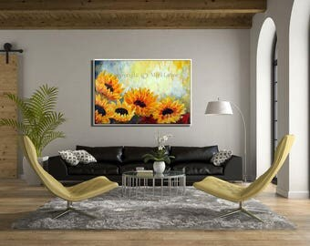 Oil Painting, Paintings on Canvas Art, Sunflower Painting, Contemporary Art, Original Painting, Extra Large Wall Art, Sunflower Art