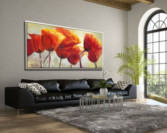 Extra Large wall art, Extra Large Painting, Red Painting, Flowers Painting, Red Artwork, Huge Painting, Red Canvas Art, Extra Large Canvas