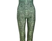SNAKE GREEN UNITARD catsuit jumpsuit romper top womens ladies top tumblr hipster grunge retro vtg indie boho festival animal print leopard