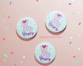 Kpop button pins fandom badges / daebak / heart fingers / korean heart fingers / kpop heart fingers