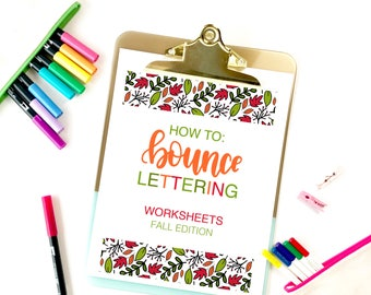 Bounce Lettering Worksheets, Fall Edition, Lettering Worksheets, Brush Pen Worksheets, Instant Download
