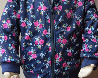 Girl's Floral Print Bomber Jacket - Navy Blue Jackets for Girls - Floral Bomber Jacket - Girl Bomber Jacket - Flower Bomber Jacket for Kids