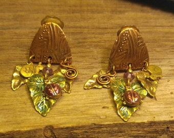 Copper Clip Earrings with Dangling Leaves, Ladybug & Snail