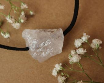 Simple White Quartz Crystal Necklace, Raw White Quartz Necklace, Zen Boho Pendant
