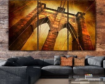 New York Brooklyn Bridge, Gold-Brown Canvas artwork, Brooklyn Bridge Art, New York Art, Brooklyn Bridge Canvas Print, New York Skyline, Gift