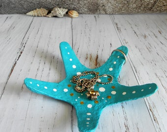 Starfish Jewelry Tray, Turquoise Ring Holder, Starfish Ring Dish, Jewelry Holder, Wedding Ring Holder, Nautical Bedroom, Bedroom Decor