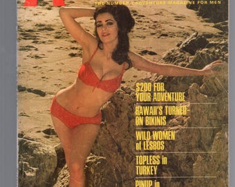 Mature Vintage Mens Girlie Pinup Magazine : Adventure October 1968  Nude Cheesecake