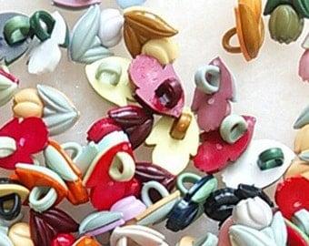 25 Buttons, 15mm, Tulip, plastic, colors mixtes, vintage, BF11