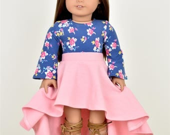 High Low Skirt  18 inch doll clothes Black