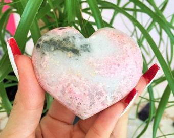 Pink Rhodonite Crystal Heart infused w/ Love and Reiki