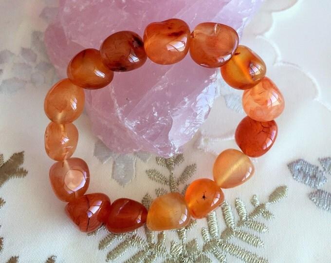 Carnelian Crystal Healing Bracelet w/ Reiki, Carnelian Stretch Bracelet Jewelry
