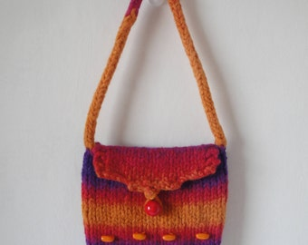 girls felt handbag, rainbow felt bag, beaded girls bag, wool felt beaded bag, purse with wood beads, knit and felt purse, orange multi bag