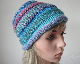 turquoise vegan cap, blue beehive beanie, chunky knit hat, multi-color toque, womans tassel hat, beehive winter cap, lilac pink blue beanie