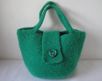 green felt handbag, emerald green bag, felted wool purse, knit and felt bag, wool felt bag, kelly green handbag, green felt bag, felt purse