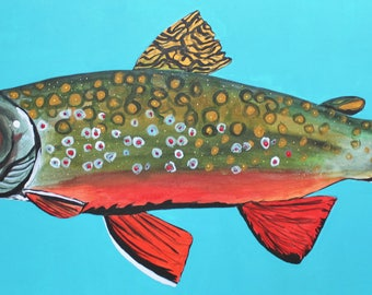 30 X 15 inch original acrylic painting- Brook Trout
