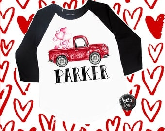 Valentine's Day Truck Shirt - Personalized Red Truck - Valentine's Day Car Shirt - Cute Valentine Shirts - Unisex Kids' Shirts - Holiday