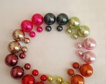 Metallic Double Pearl Stud Earrings - Pearl Earrings - Stud Earrings - Double Pearl Stud Earrings - Colorful Stud Earrings - Stud - Earrings