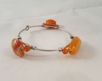 Orange Glass Bead Bangle - Orange Bangle - Bangle - Stone Bangle - Orange Stone Bangle - Orange Glass Bangle - Glass Bangle - Stone Bangle