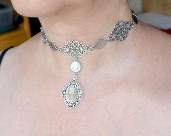 Silver choker with Cameo, Cameo choker, Gothic choker, Gothic necklace, Cameo necklace (750)
