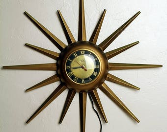 mid century modern retro atomic united corp starburst brass electric wall clock no 924