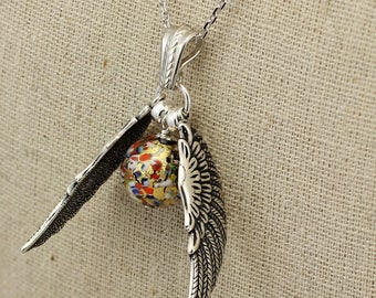SS041- Millefiori Silver Quidditch-inspired large winged Murano glass ball necklace