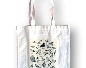 Bird Tote, Weekender Bag, Handbag Tote Canvas, Tote, Linen Beach Bag, Canvas Tote Handbag, Everyday Bag, Handbag Canvas Tote, Grocery Bag