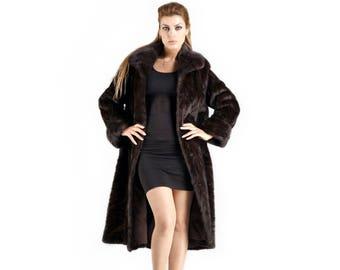 Long Mink Fur Coat, Mahogany Fur Coat F414