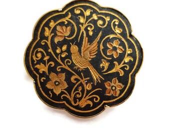 vintage Toledo brooch, Damascene jewelry