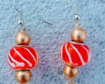 Lampwork murano glass european bead earring, Jewelry,  earrings,  handmade earrings,  beaded earrings,  lampwork beaded earring
