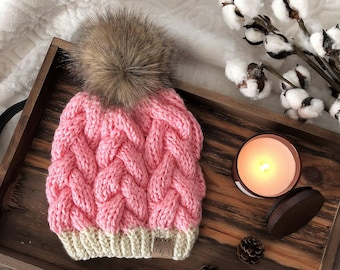 Cable Knit Hat/Braided Cable Beanie/Slouchy Cable Knit Hat/Women's Pink Hat/Knit Beanie/Faux Fur PomPom/Slouchy Beanie/Knitted Hat for Women