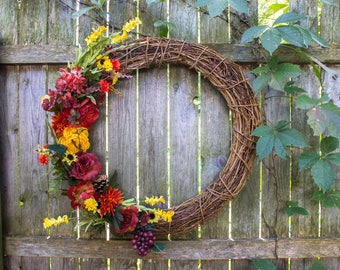 Fall Harvest Grapevine Sunflower Wreath - Large  - Autumn Theme - for Front Door - 24-Inch - Garden Decor