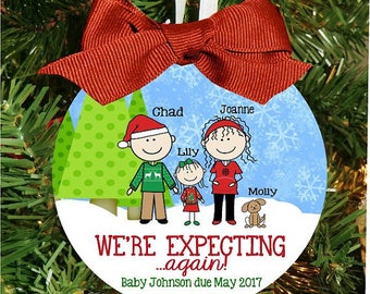 We're Expecting Again!  Pergnancy Ornament, Expecting Baby Ornament, Pregnancy Christmas Ornament, Personalized Ornament,