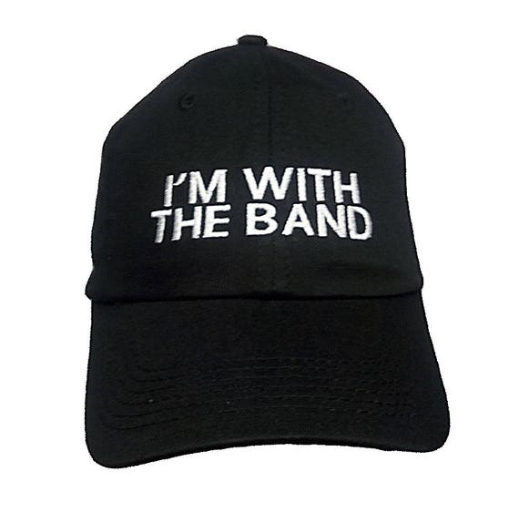 I'm With the Band (Youth Dad Cap Polo Style Ball Cap - Black with White Stitching)