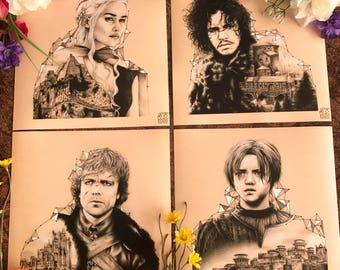 10 x 10 Art Print Set - Game of Thrones