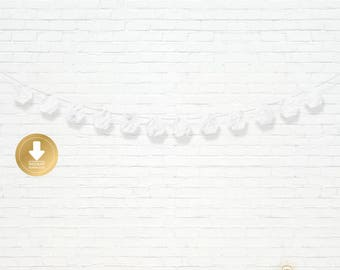INSTANT DOWNLOAD - Marble Hexagon Garland  - Party Garland - Marble Party Decor