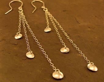Long Chain Earrings, triple chain earrings, dangle and drop, silver domed discs, 925 sterling silver, assay hallmarked, handmade jewellery
