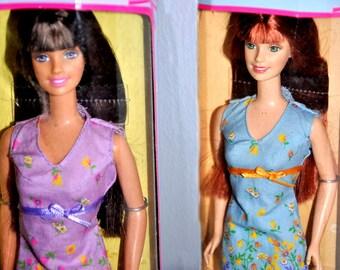 Pretty Flowers Barbie Dolls, Two Barbie Dolls, Brunette Barbie, Auburn Barbie, Twin Barbie Dolls, Vintage Barbie Dolls, Mattel Barbies