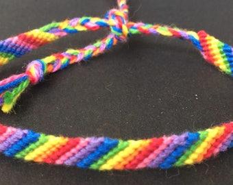 Simple Rainbow Friendship Bracelet