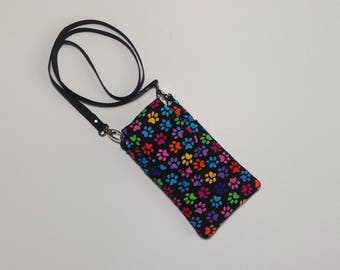 Cell Phone IPhone Purse/wallet with crossbody strap in Paw Print Fabric