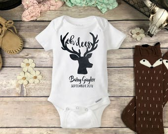 Personalized Oh Deer Onesies® Brand or Carter's® Bodysuit - Hunting Baby Announcement Baby Shower Gift Antler Deerly Loved Pregnancy Reveal