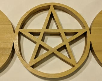 "Triple moon pentagram 11 3/4"" x 5 1/4"""